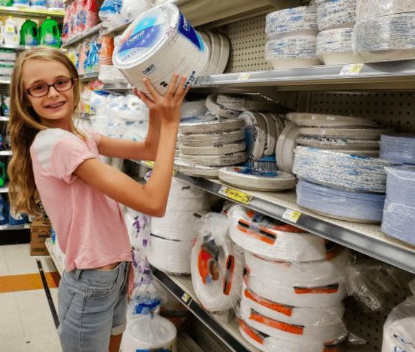 Ashling helping find paper plates