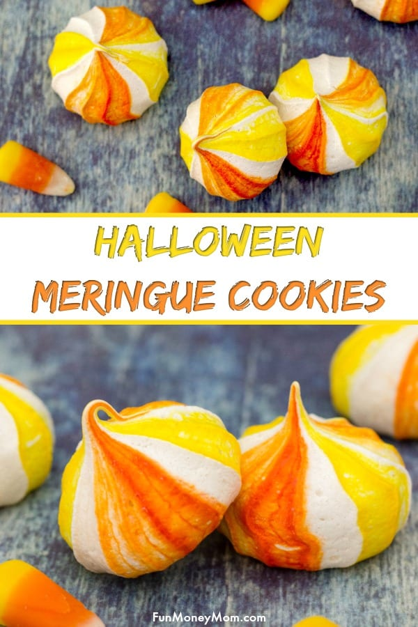 Halloween Cookies - These candy corn inspired meringue cookies are the perfect Halloween food for your next party! It's a tasty fall recipe that makes a fun sweet treat. #halloween #candycorn #halloweencookies #candycorncookies #sweets #desserts #cookies #halloweenparty #meringuecookies #meringues