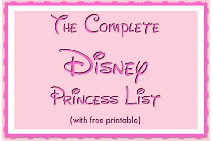 The Complete Disney Princess List