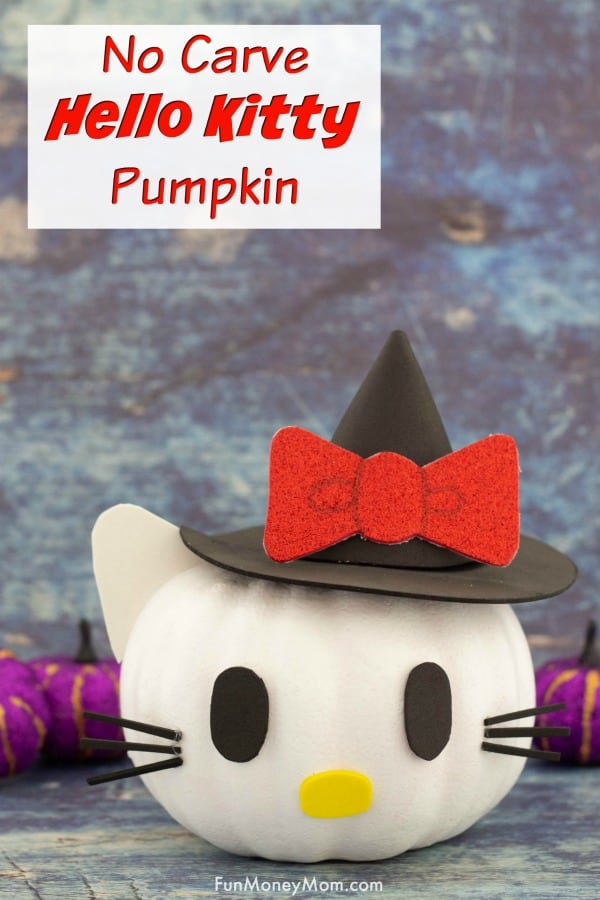 Hello Kitty Pumpkin - This no carve pumpkin inspired by Hello Kitty is the perfect Halloween craft! #HelloKitty #hellokittypumpkin #pumpkins #pumpkindecoration #pumpkinideas #halloweenpumpkin #nocarvepumpkin #easypumpkin