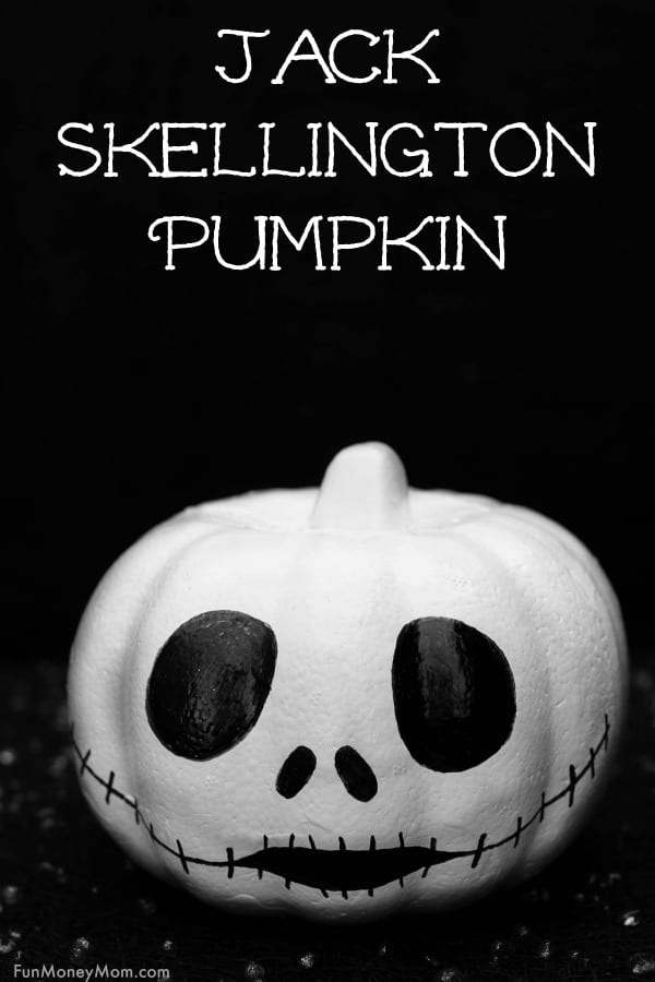 Jack Skellington Pumpkin - Love The Nightmare Before Christmas? This easy pumpkin decorating idea requires just a little paint, a marker and a $1 foam pumpkin! Plus, this Jack Skellington pumpkin is so easy that even the kids can do it! #JackSkellington #JackSkellingtonPumpkin #TheNightmareBeforeChristmas #Halloweenpumpkin #nocarvepumpkin #pumpkindecorating #Halloweencraft