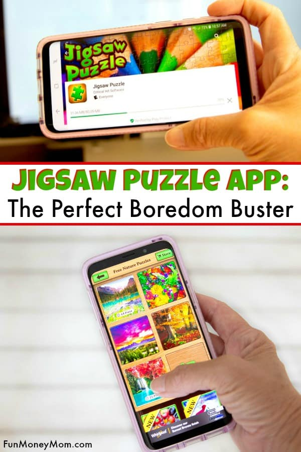 Jigsaw Puzzle App - Want the perfect boredom buster? The Jigsaw Puzzle will not only keep you entertained, it'll challenge you too! It a fun app that you can play anywhere (and you will want to!) #JigsawPuzzleApp #game #puzzles #brainteaser