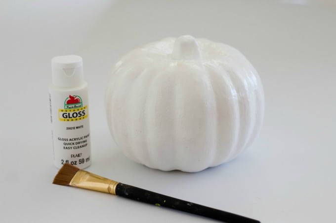 Styrofoam pumpkin painted white