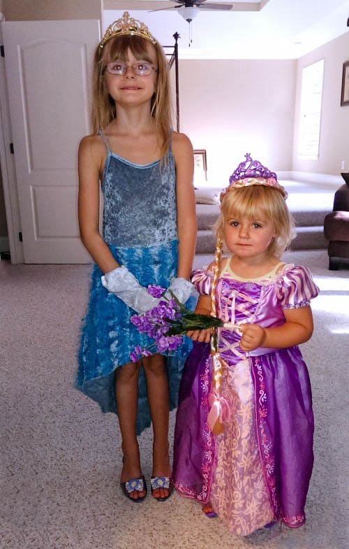 Keira as Rapunzel while playing Disney princess dress up