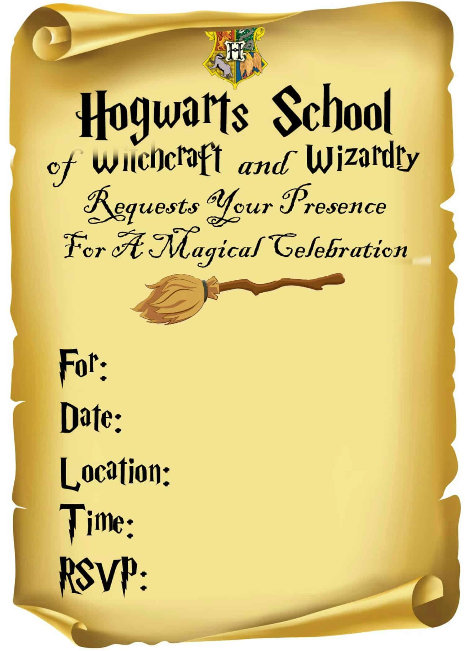 Harry Potter Printable Invitation Templates Free   PDF ...