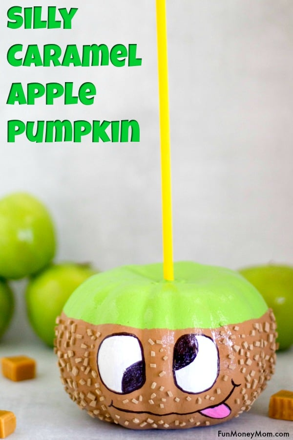 No Carve Pumpkin - You can't eat this caramel apple pumpkin but it sure is fun to make. It's a pumpkin decorating idea you may not have thought of but it makes a great Halloween craft. #nocarvepumpkin #pumpkindecorating #halloweencraft #caramelapplepumpkin #pumpkins #fallcrafts
