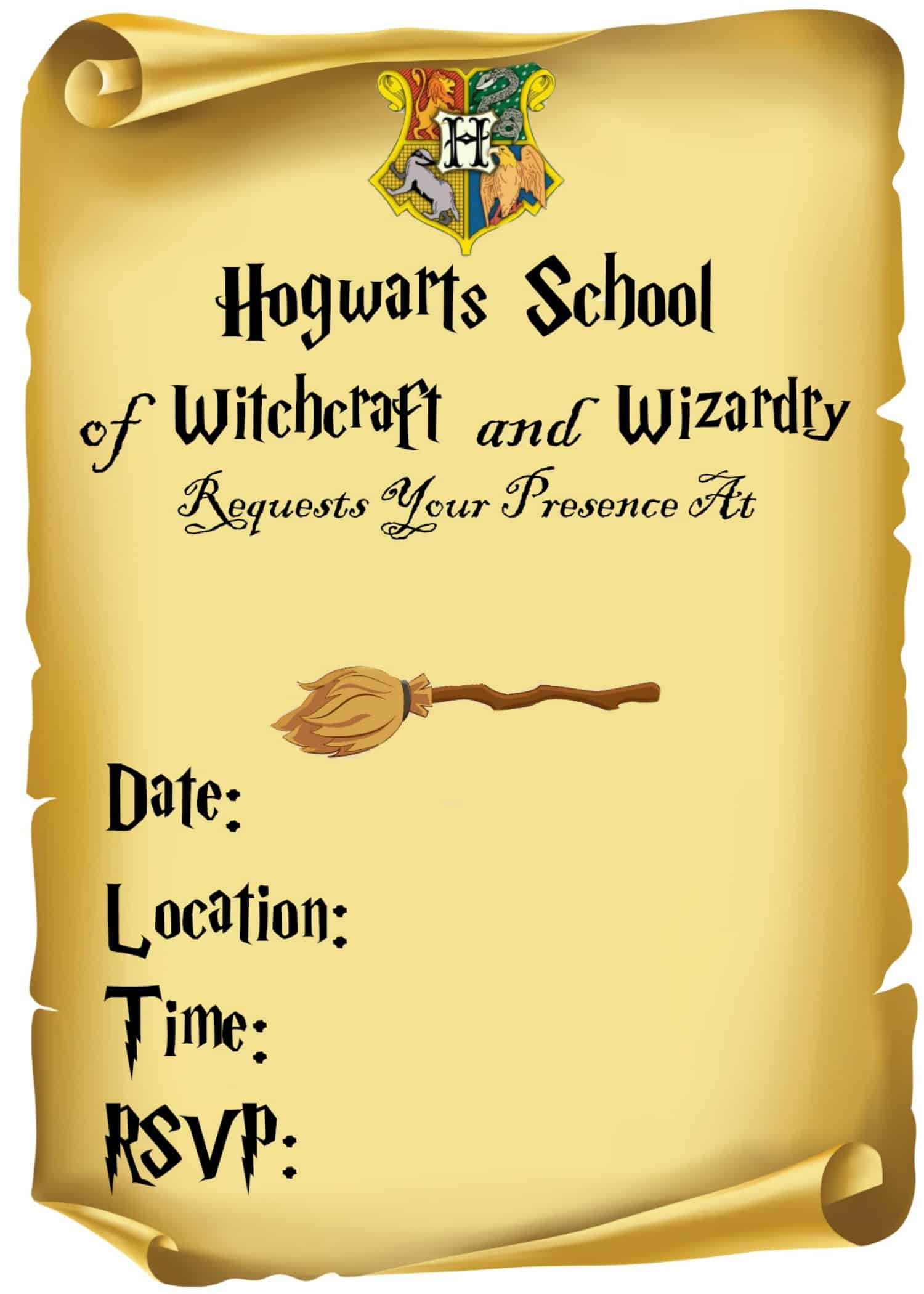 Unusual image in harry potter invitations printable