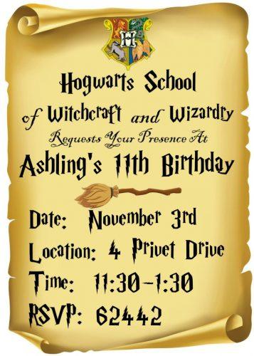Harry Potter Sample Invitation
