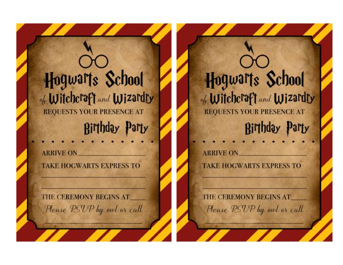 Harry Potter invitations 8.5x11