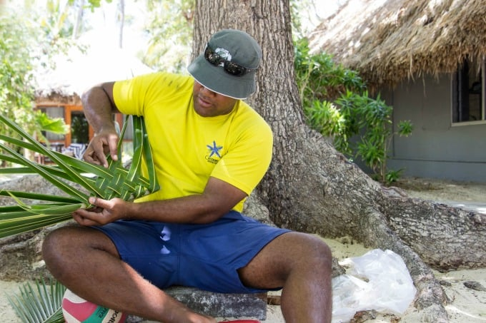 Basket weaving on Castaway Island in the Fiji Islands