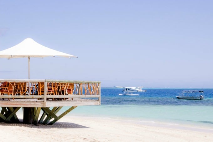 Restaurant overlooking the water on Castaway Island, Fiji