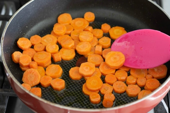 Sauteing carrots for an easy Korean BBQ recipe