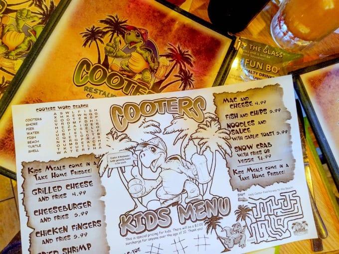 Kid's menu at Cooters