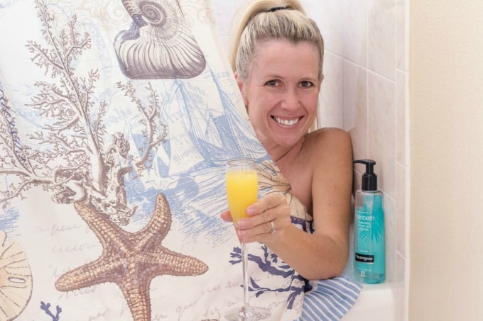 Spa day at home with mimosas