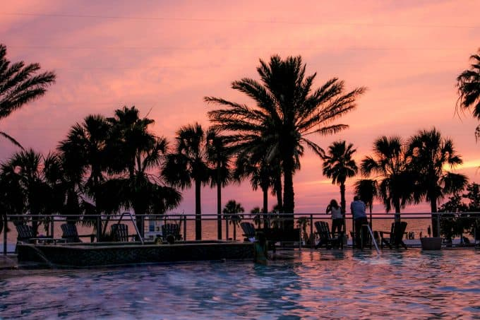 Sunset at the Wyndham Grand Clearwater Beach Pool