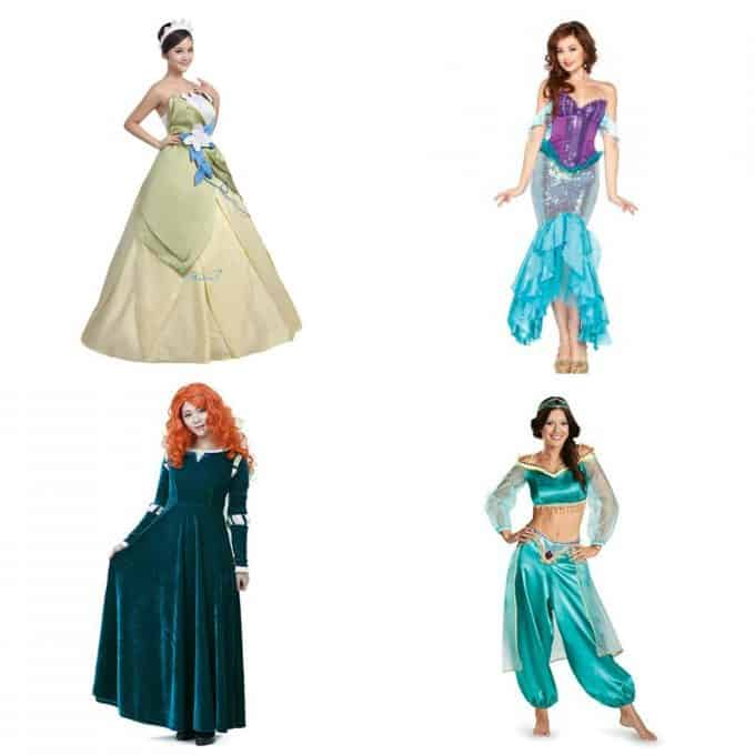 Disney princess costumes for Tiana, Ariel, Jasmine and Merida