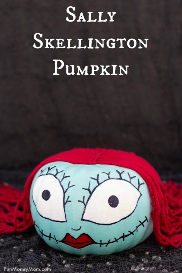 Sally Skellington - Want to make a Sally Skellington pumpkin for Halloween? This easy pumpkin is the perfect Halloween craft for fans of Tim Burton's The Nightmare Before Christmas #SallySkellington #sallyskellingtonpumpkin #thenightmarebeforechristmas #pumpkins #pumpkindecorating #nocarvepumpkins