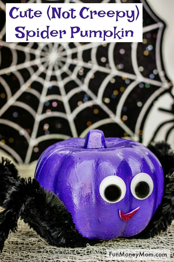 Spider Pumpkin - This no carve pumpkin is more cute than creepy! If you love no carve pumpkin ideas, you'll love this easy craft! #spiderpumpkin #Halloweenspider #Halloweencraft #halloweenpumpkin #pumpkincraft #nocarvepumpkin