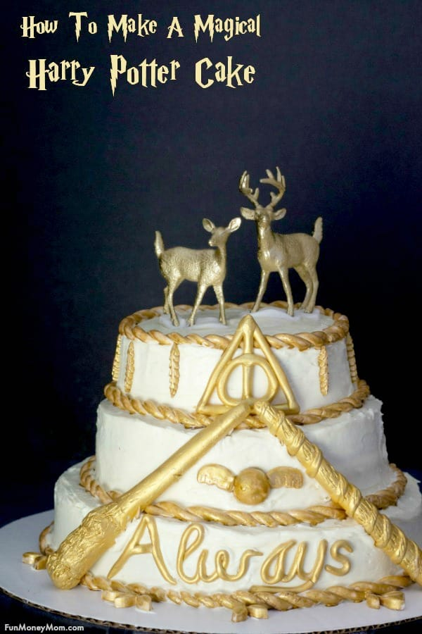 Harry Potter Cake - Need a cake for your Harry Potter party? This isn't like Hagrid's cake! Originally a wedding cake, we've created a cake that any Harry Potter fan will love! #harrypotter #harrypottercake #harrypotterparty #harrypotterbirthdayparty