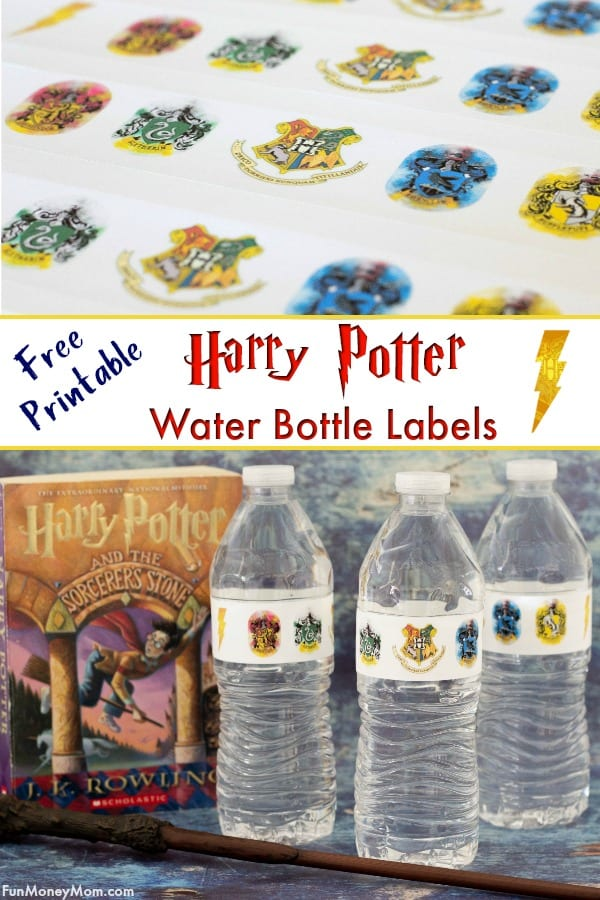 Harry Potter labels - Having a Harry Potter party? These free printable labels are a super easy way to make sure that even your water bottles have a Harry Potter theme. #harrypotter #harrypotterlabels #harrypotterparty #harrypotterwaterbottles #printablelabels #freelabels