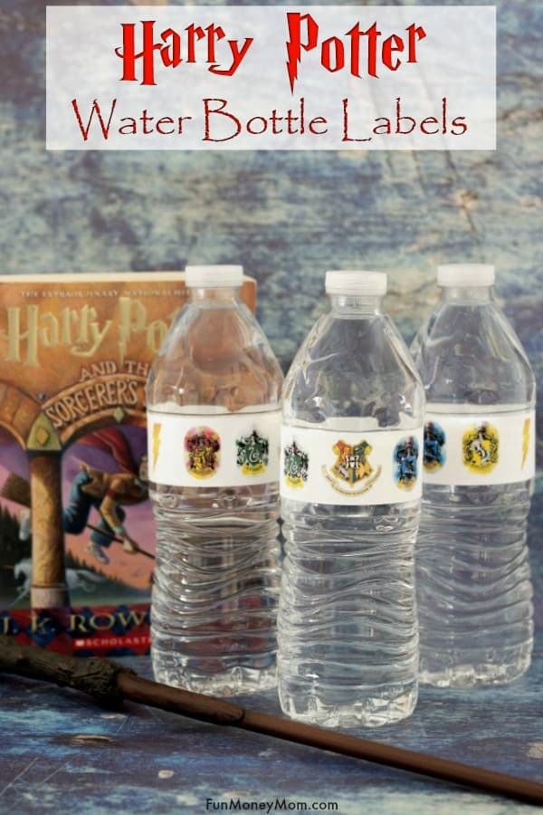 Harry Potter labels - Having a Harry Potter themed birthday? These free printable labels are an easy way to make sure that even your water bottles have a Harry Potter party theme. #harrypotter #harrypotterwaterbottles #harrypotterlabels #harrypotterparty #printablelabels #freelabels