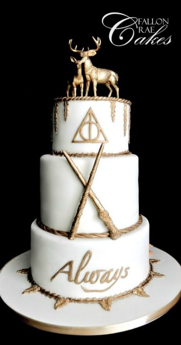 Harry Potter wedding cake with gold trim