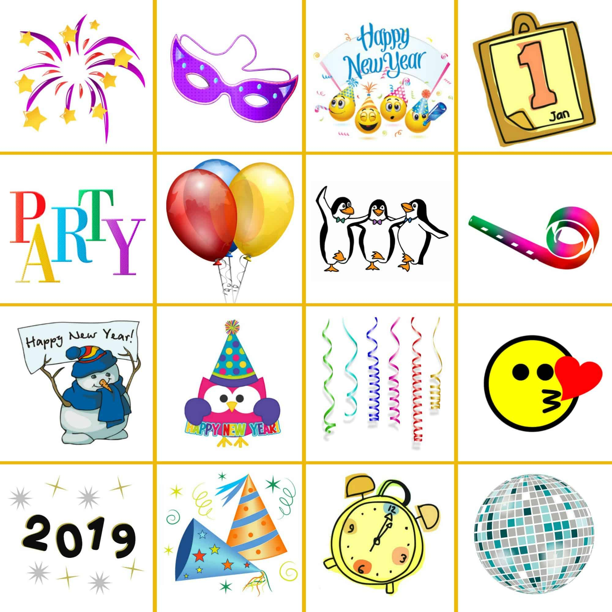 New Year's Eve bingo calling cards
