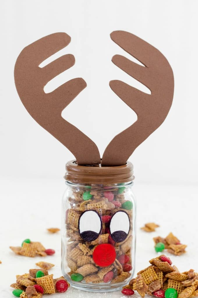 Decorate a mason jar and fill it with your party mix