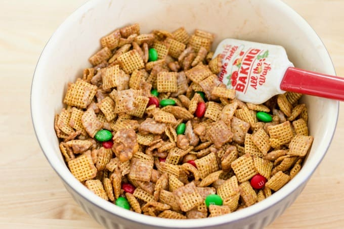 Again, stir until the Chex party mix is evenly covered