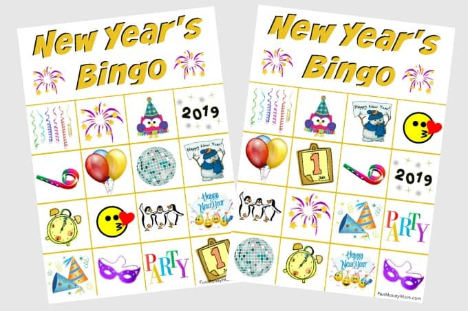 New Year's Eve bingo cards for kids