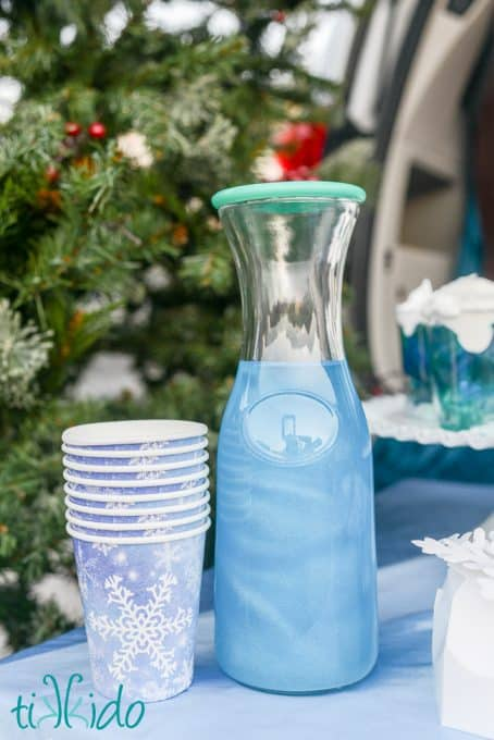 A pretty blue shimmering potion drink makes a fun drink for kids parties
