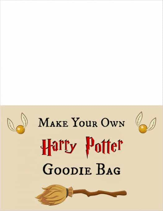 Harry Potter Goodie Bag sign
