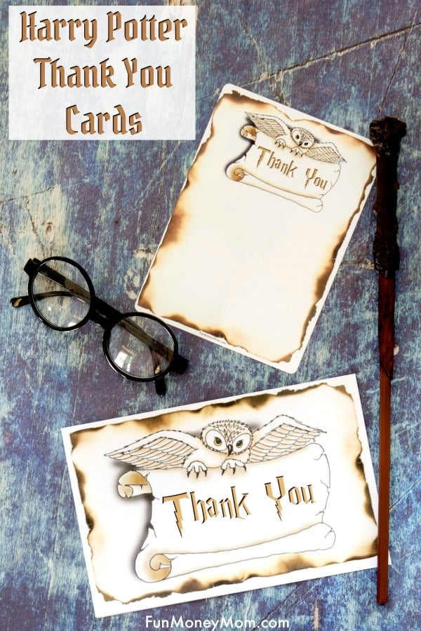 Harry Potter Thank You Cards - Need thank you cards for your Harry Potter party? These Harry Potter birthday cards are the perfect way to keep the fun going! #harrypotter #harrypottertheme #harrypottercards #harrypotterparty #thankyoucards