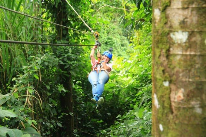 Ziplining at Ecoglide Arenal Park