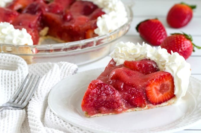 Strawberry Pie with whipped cream