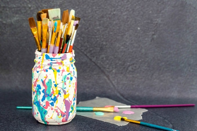 mason jar craft for holding paintbrushes