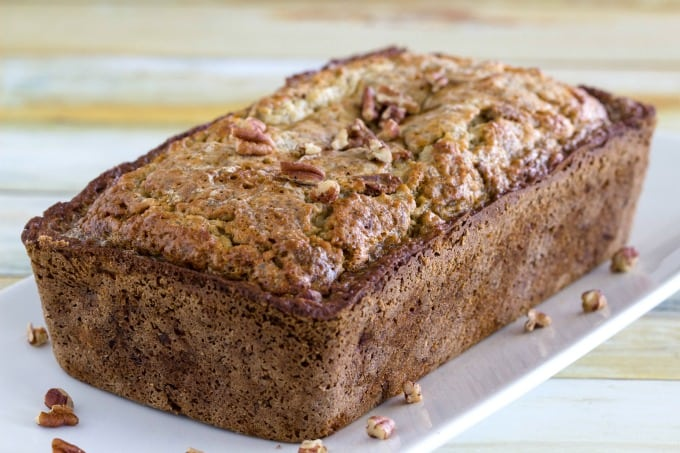Healthy banana bread out of the oven