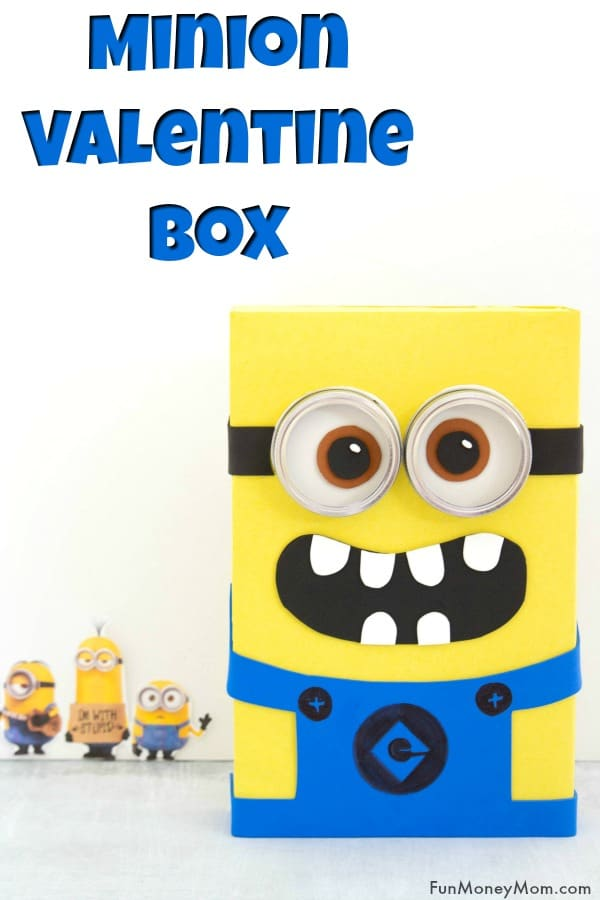 Minion Valentine Box - Looking for a fun Valentine box for crafty kids? They'll love making this cute Minion Valentine Box! #valentinebox #minions #minionvalentinebox #valentinesday #valentinecrafts #crafts