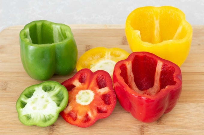 Peppers with tops cut off