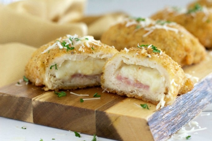 Melted cheese from chicken cordon bleu