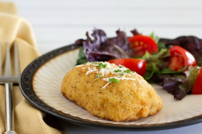 Barber Foods Chicken Cordon Bleu with salad