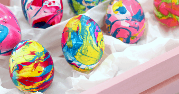 Marbled Easter Eggs With Nail Polish