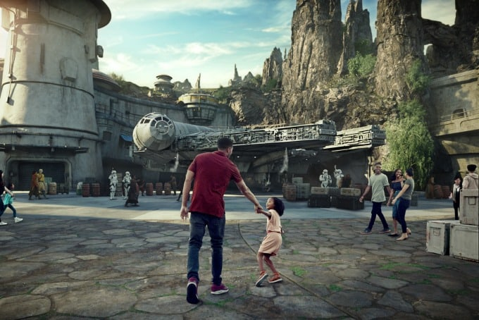 Little girl excited about attractions at Star Wars: Galaxy's Edge