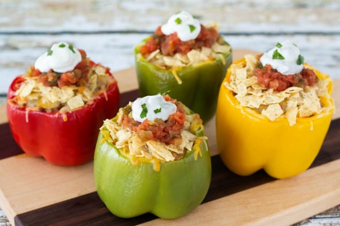 Taco stuffed peppers with tortilla topping