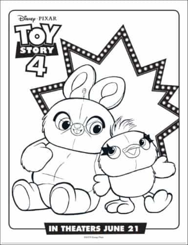 Ducky & Bunny From Toy Story Coloring Page
