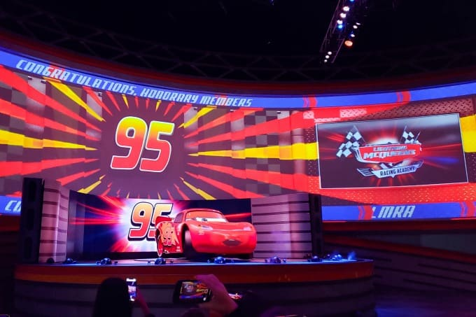 Lightening McQueen talking to the audience