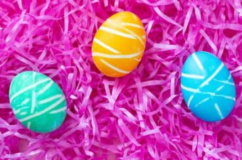 Rubber band Easter eggs on Easter grass