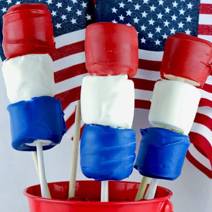 Red White and Blue Marshmallow Pops