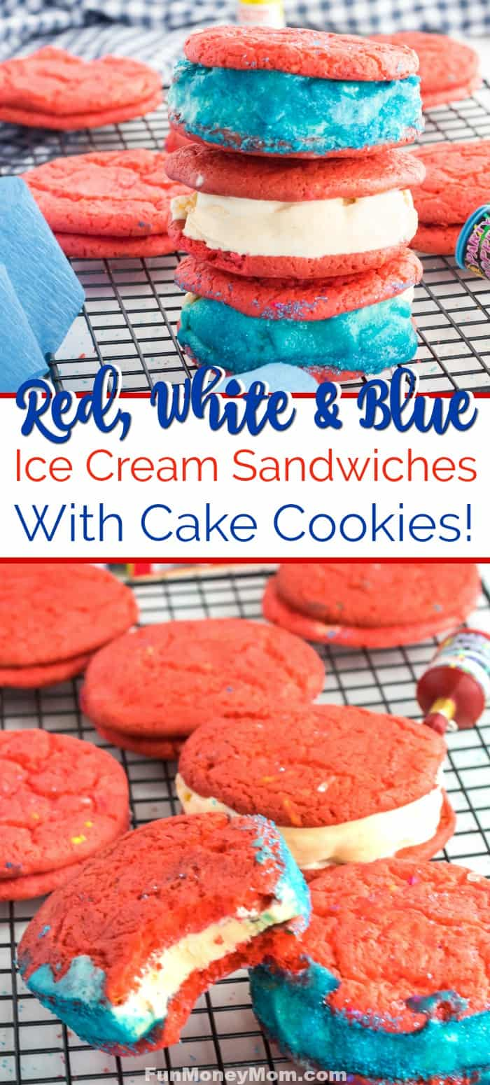Ice Cream Cookie Sandwich - This cookie ice cream sandwich made with cake cookies is the perfect 4th of July treat! #4thofjuly #icecreamsandwich #cookieicecreamsandwich #sweets #dessert