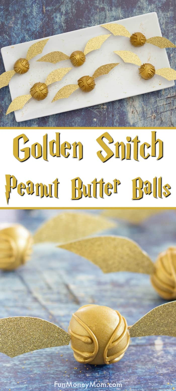 Peanut Butter Balls - These Golden Snitch peanut butter balls are perfect for your Harry Potter birthday party or movie night! #harrypotter #harrypotterfood #harrypotterparty #peanutbutterballs #sweets